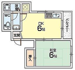 シャルマン津村[1階]の間取り