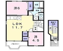岡山県倉敷市東塚2の賃貸アパートの間取り