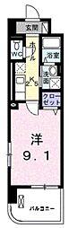 グランデ新宿 7階1Kの間取り