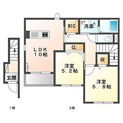 仮)白雲町新築アパート[2階]の間取り