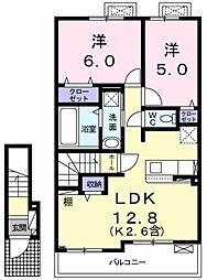 アイリス 2階2LDKの間取り
