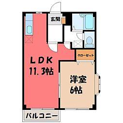 栃木県下野市祇園1丁目の賃貸アパートの間取り