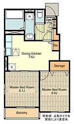 JR南武線 谷保駅 徒歩9分の賃貸アパート 1階2DKの間取り