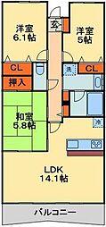 JR京葉線 千葉みなと駅 徒歩3分の賃貸マンション 18階3LDKの間取り