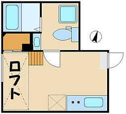 カラスヤマテラスEW 1階ワンルームの間取り