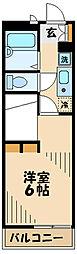 京王相模原線 京王多摩センター駅 徒歩18分の賃貸マンション 3階1Kの間取り