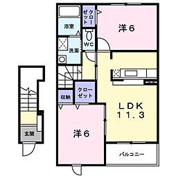 愛知県岡崎市小呂町字ミタライの賃貸アパートの間取り