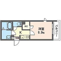 ALVINESS D Komagome 4階1Kの間取り