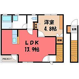 栃木県宇都宮市中一の沢町の賃貸アパートの間取り