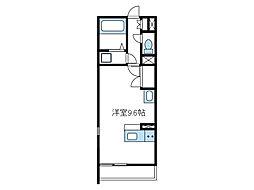 小田急小田原線 本厚木駅 徒歩20分の賃貸アパート 1階1Kの間取り