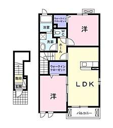 ダル・セーニョ 2階2LDKの間取り
