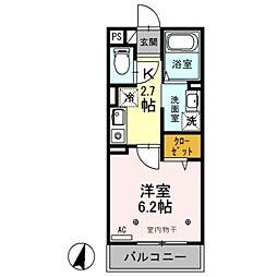 JR京浜東北・根岸線 南浦和駅 徒歩9分の賃貸アパート 1階1Kの間取り