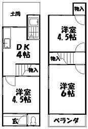 [テラスハウス] 大阪府枚方市北船橋町 の賃貸【大阪府 / 枚方市】の間取り