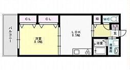 福岡県福岡市早良区西新2丁目の賃貸マンションの間取り