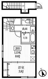 小田急小田原線 千歳船橋駅 徒歩7分の賃貸アパート 2階1LDKの間取り