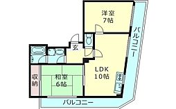 ルミエール中宮 4階2LDKの間取り