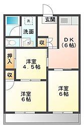 愛知県豊橋市曙町字若松の賃貸アパートの間取り