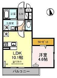 JR東北本線 大宮駅 徒歩23分の賃貸アパート 2階1LDKの間取り