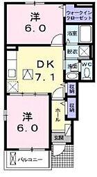 神奈川県伊勢原市沼目2丁目の賃貸アパートの間取り