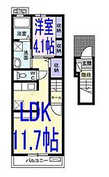 栃木県小山市東城南1の賃貸アパートの間取り