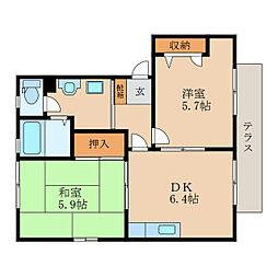 滋賀県東近江市佐生町の賃貸アパートの間取り