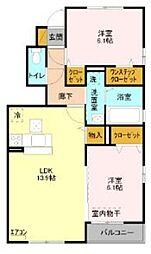 JR東北本線 土呂駅 徒歩15分の賃貸アパート 1階2LDKの間取り