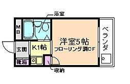 大阪府箕面市粟生間谷東5丁目の賃貸マンションの間取り