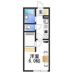 レオパレス湊御殿 3階1Kの間取り
