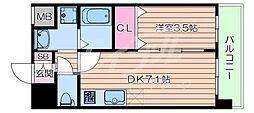 阪急京都本線 正雀駅 徒歩3分の賃貸マンション 7階1DKの間取り