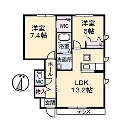 岡山県倉敷市連島中央3丁目の賃貸アパートの間取り