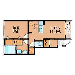 滋賀県近江八幡市武佐町の賃貸アパートの間取り