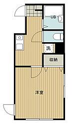 東京メトロ有楽町線 地下鉄成増駅 徒歩3分の賃貸マンション 2階1Kの間取り