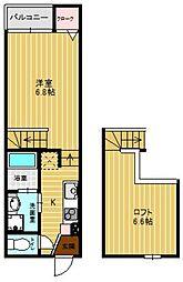 シャレオ六本松[102号室]の間取り