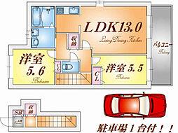 ラフィーネ須磨II[2階]の間取り
