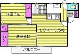 ハートランド三苫 E[202号室]の間取り