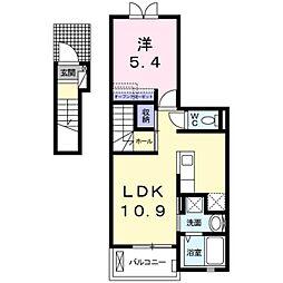 多摩都市モノレール 甲州街道駅 徒歩10分の賃貸アパート 2階1LDKの間取り
