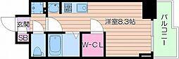 Osaka Metro御堂筋線 天王寺駅 徒歩10分の賃貸マンション 7階ワンルームの間取り