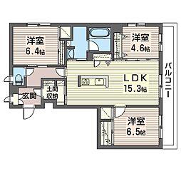 エミナール那珂川 2階3LDKの間取り