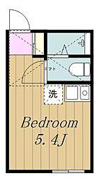 小田急小田原線 生田駅 徒歩8分の賃貸アパート 2階ワンルームの間取り