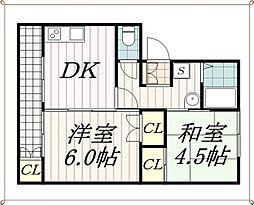 作草部ハウス[4階]の間取り