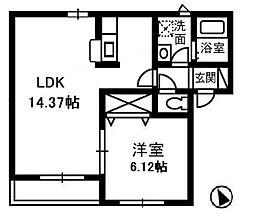 岡山県倉敷市神田3丁目の賃貸アパートの間取り
