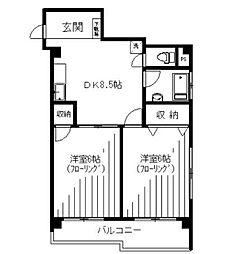 南大塚台マンション 11階2DKの間取り
