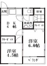 コーポキヨシ[101号室]の間取り