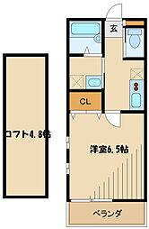 小田急小田原線 鶴川駅 徒歩15分の賃貸アパート 2階1Kの間取り