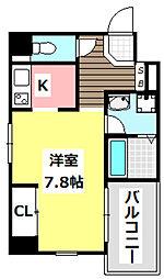 阪急京都本線 茨木市駅 徒歩3分の賃貸マンション 2階1Kの間取り