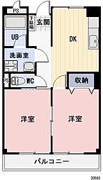 長野県諏訪市湖岸通り5丁目の賃貸マンションの間取り
