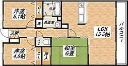 大阪府大阪市平野区加美北7丁目の賃貸マンションの間取り