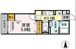 OKUE II 3階1Kの間取り
