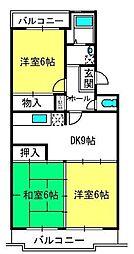 埼玉県さいたま市北区盆栽町の賃貸マンションの間取り