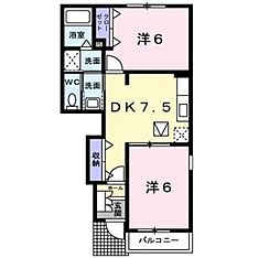 JR羽越本線 中条駅 徒歩19分の賃貸アパート 1階2DKの間取り